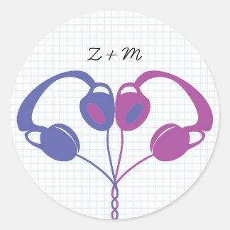 Retro Indie Headphones Heart Wedding (Purple/Blue) Round Sticker
