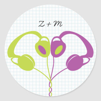 Retro Indie Headphones Heart Wedding (Purple/Lime) Classic Round Sticker