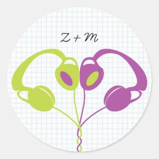 Retro Indie Headphones Heart Wedding (Purple/Lime) Round Sticker