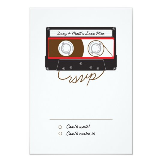 Retro Indie Mixtape Wedding Red, Black & White Card