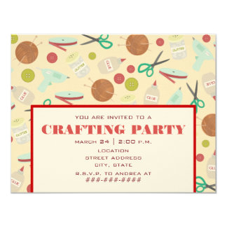 Retro Inspired Crafting Party Invitation