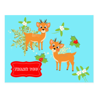 Retro Inspired Cute Christmas Gift Thank You Postcard
