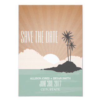 Retro Inspired Island Beach Wedding Save The Date 9 Cm X 13 Cm Invitation Card