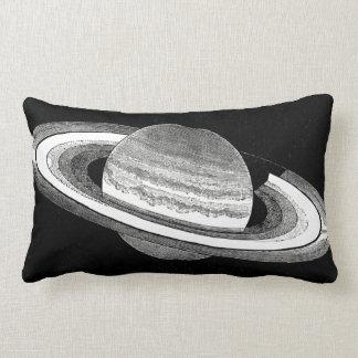 Retro Inspired Monochrome Planet Saturn Space Lumbar Cushion