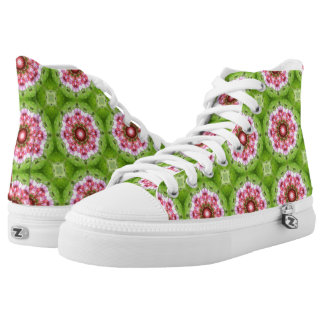 Retro Inspired Pink, Lilac, Green Kaleidoscope High Tops