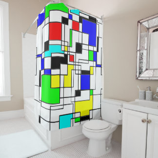 Retro Inspired Squares And Lines Shower Curtain