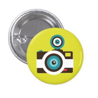 Retro Instant Camera (White / Brown) Flair Button