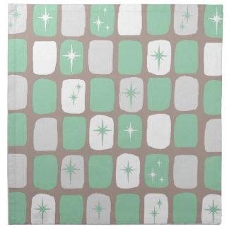 Retro Jade Starbursts Cloth Napkins