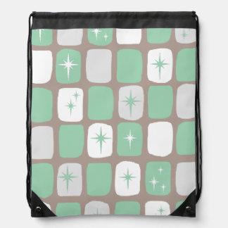 Retro Jade Starbursts Drawstring Backpack