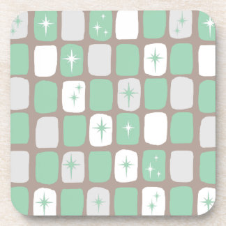 Retro Jade Starbursts Hard Plastic Coasters