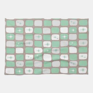 Retro Jade Starbursts Kitchen Towel