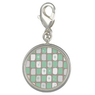 Retro Jade Starbursts Silver Charm