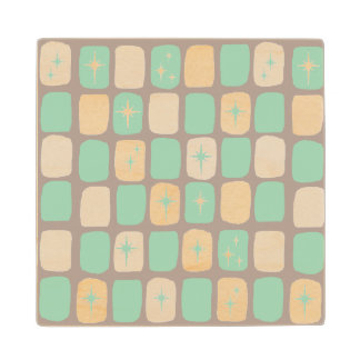 Retro Jade Starbursts Wooden Coaster Wood Coaster
