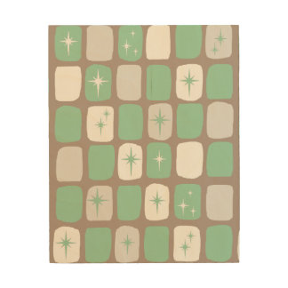Retro Jade Starbursts Wooden Wall Art Wood Canvases