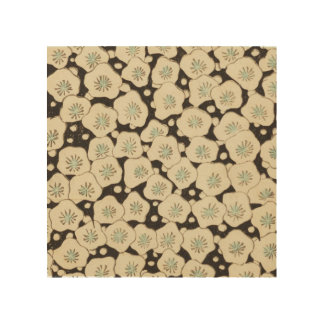Retro Japanese Abstract Floral Wood Prints