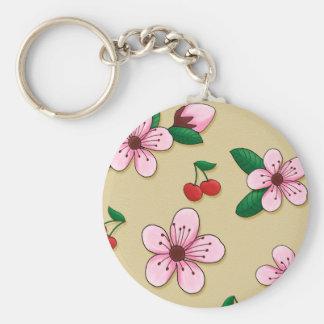 Retro Japanese Cherry Blossom Keycain Basic Round Button Key Ring
