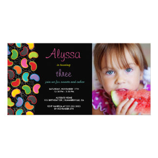 Retro Jellybean Pop Sweet Candy Whimsical Birthday Customised Photo Card
