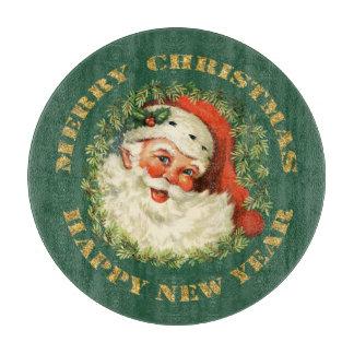 Retro Jolly Old Santa and Wreath Christmas Cutting Board