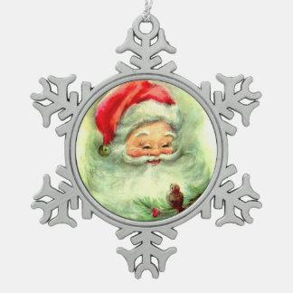 Retro Jolly Sana Claus with Little Bird Pewter Snowflake Decoration