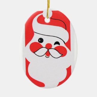 Retro Jolly Santa Claus Ceramic Oval Decoration