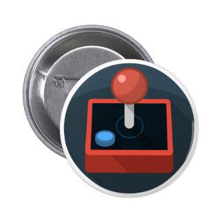 Retro Joystick, 80's style video game joy stick 6 Cm Round Badge
