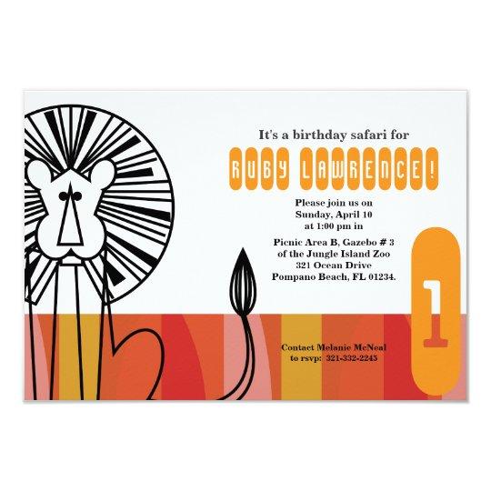 retro jungle lion BIRTHDAY PARTY invitation