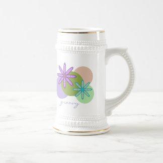 Retro Kaleidoscope Floral & Dots 1 Stein Beer Steins