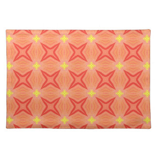 Retro Kaleidoscope Pattern in Orange and Yellow Placemat