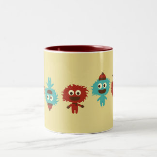 Retro kawaii little monsters cute pattern print coffee mug