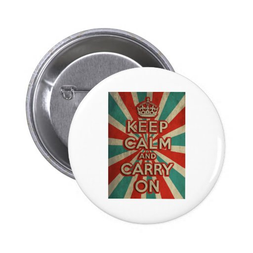 Retro Keep Calm And Carry On Button