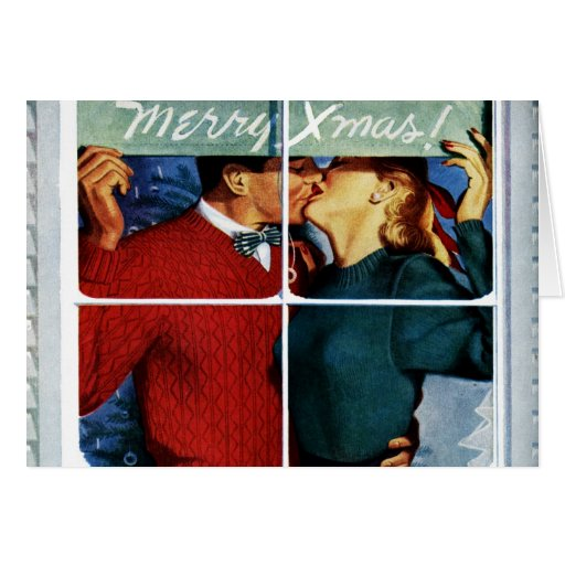 Retro Kissing Christmas Couple Card