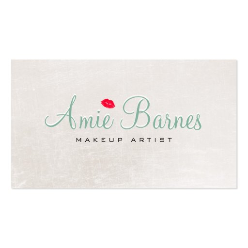 Retro Kissing Lips Makeup Artist Shimmery White Business Card Templates