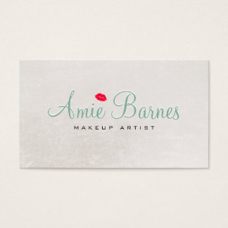 Retro Kissing Lips Makeup Artist Shimmery White Business Card