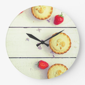 Retro kitchen clock with cupcakes and strawberries
