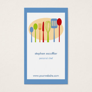 Retro Kitchen Cooking Utensils Chef Business Card