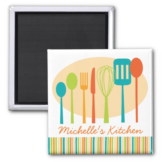 Retro Kitchen Cooking Utensils Personalised Magnet