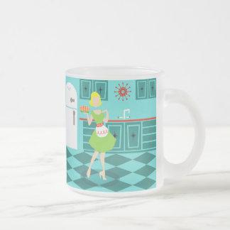 Retro Kitchen Frosted Glass Mug