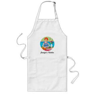 Retro kitchen scene long apron