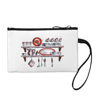 Retro Kitchen Shelf in Black White and Red Coin Wallets