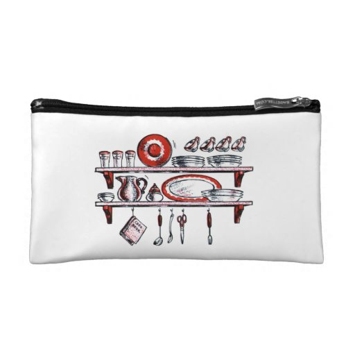 Retro Kitchen Shelf in Black White and Red Cosmetics Bags