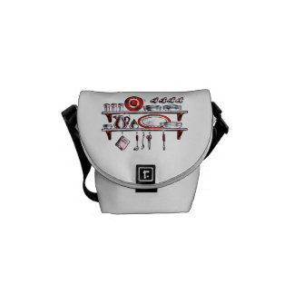 Retro Kitchen Shelf in Black White and Red Messenger Bag