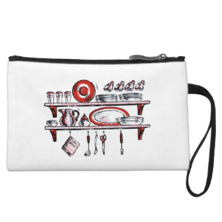 Retro Kitchen Shelf in Black White and Red Wristlet