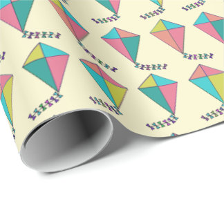 Retro Kite Pattern Wrapping Paper