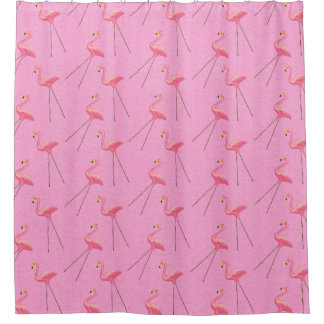 Retro Kitsch Pink Flamingo Shower Curtain
