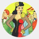 Retro Kitsch Vintage Pin Up Kissing Booth Girl Round Sticker