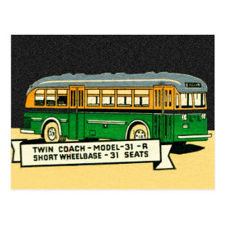Retro Kitsch Vintage Twin Coach Bus 31-R Postcard