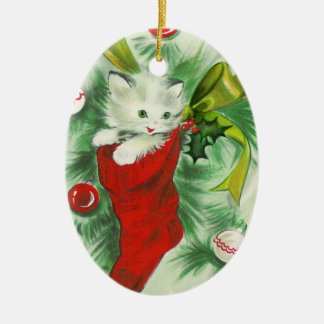 Retro Kitten Christmas Ornament