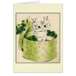 Retro Kitten Saint Patrick's Day Note Card