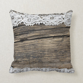 retro lace on the wooden background cushion