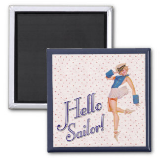 Retro Lady, Hello sailor! Square Magnet